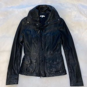 Vince Soft Leather Zip Black Moto Jacket XS